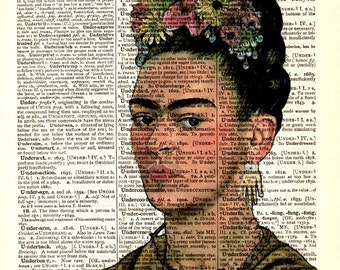 """Dictionary Art Print,Vintage posters art,digital illustration drawing,gifts ideas,wall decor,Pop art,Home & Living,""""Tribute to Frida kahlo""""2"""