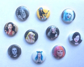"Women of the Alt/Rock Scene 1"" Pinback Button Selection"