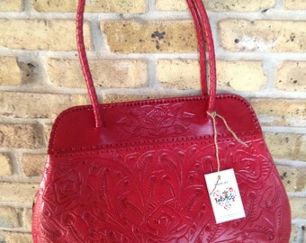San Miguel- Handmade tooled leather handbag - Red