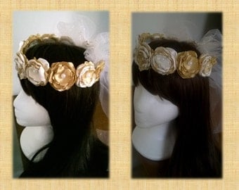 Ivory and gold Flowergirl headpiece, Satin Flower headpiece, Headcrown, Flowergirl, Head Wreath