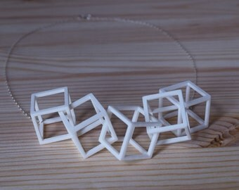 Five Cube Necklace - Geometric Statement Jewelry - 3D Printed