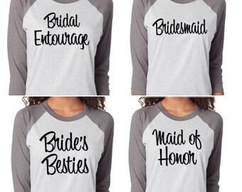 Bridal Party Baseball Shirts. Bridesmaid Baseball Shirts. Bride's Crew Shirt. Bridal Entourage Baseball Shirts. Wedding Shirts.