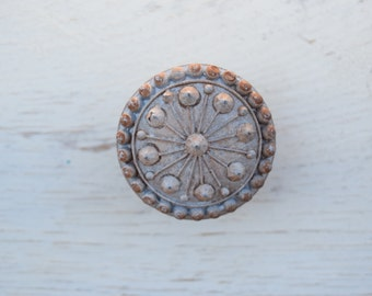 Distressed Beaded Drawer Knobs Handles In Distressed Grey, Drawer Pulls, Rustic Cabinet Knobs, Beaded Furniture Knobs, Distressed Cabinet