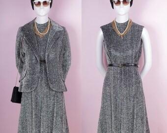 60s Sparkly Metallic Silver Tinsel Dress & Jacket
