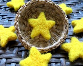 10 Felt Stars, Handmade Merino wool felt stars, felted stars, yellow felt stars, felt beads, felted beads, yellow star beads