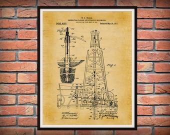 Patent 1911 Oil Drilling Rig - Art Print - Poster Print - Wall Art - Texas Oil Rig - Hydraulic Drilling Rig