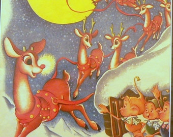 1951 Santa Claus & Rudolph the Red-Nosed Reindeer Matted Vintage Print