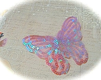 Lavender Sequin Butterfly Appliques Sewing Supply Costume Trim SE-126