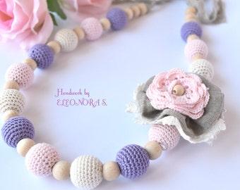 Crochet bead nursing necklace / teething necklace / Eco  Organic necklace / Summer juwelry