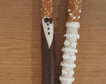 Bride & Groom Wedding Pretzel Rods