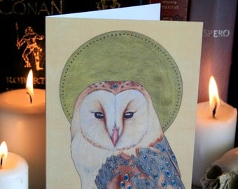 Barn Owl: Evil Eye A6 Greeting Card. Occult, Magic, Evil Owl ('Invidia; Tyto Alba'). Designed and Printed in the UK.