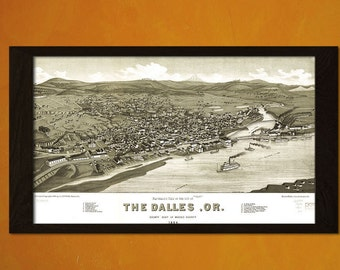 Print Old Map The Dalles 1884 - Antique Map Retro Poster Old Prints Ancient Map Wall Decor Vintage Dalles Postert