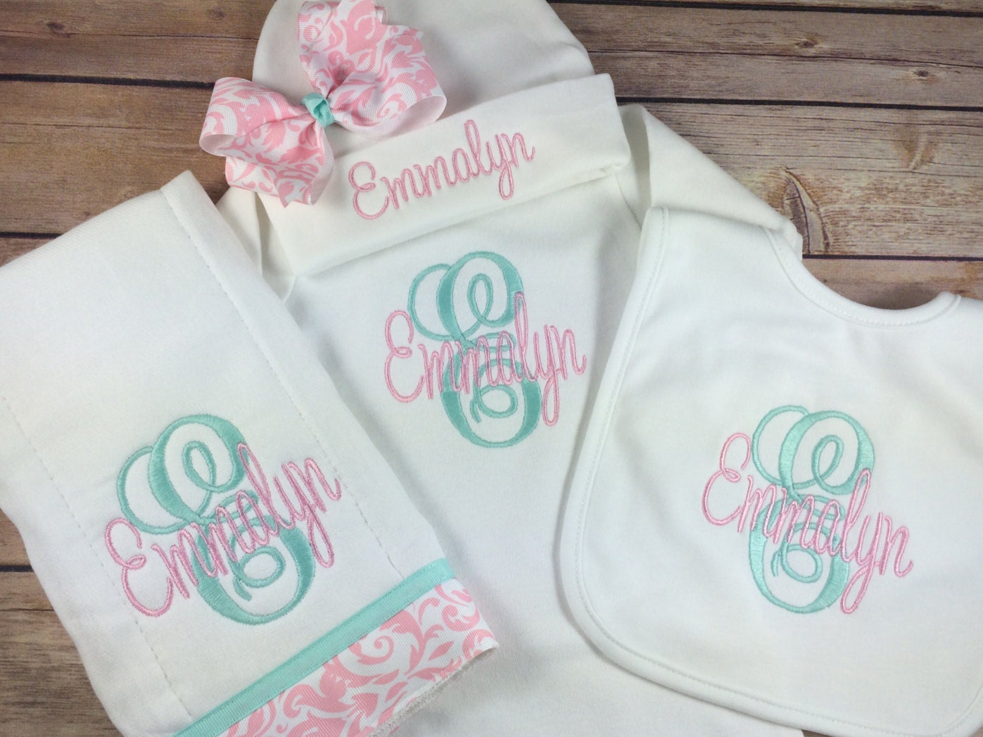 Monogram Initial Embroidered Gown Monogram Baby Gown Beanie