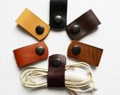 Headphone holder Cord keeper Leather earphone organizer Cable organizer Leather cord ties Phone cord holders Cord earphone Leather cable tie