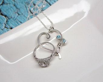 Ring Holder Necklace, Custom Birthstones, Infinity Ring Holder Pendant / Heart Clasp Ring Holder Pendant, Lovers Necklace