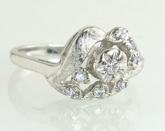 Estate Designer MK Diamond & Jewelry 14K White Gold .20ct Genuine Diamond Ring 3.4g