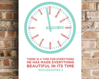 A Time For Everything - Ecclesiastes 3 Bible Verse Wall Art Scripture Prints
