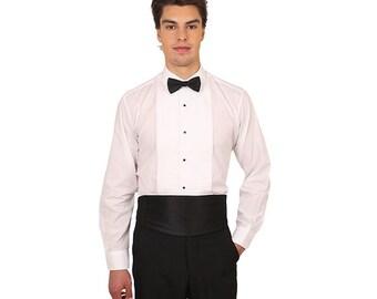 Men White Laydown Collar 1/4 in. Pleat Tuxedo Shirt