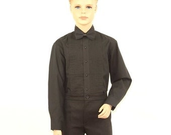 Boys Black Tuxedo Shirt With Wing Tip Collar
