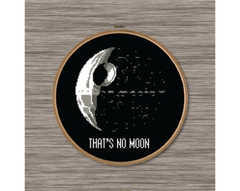 "PDF Cross Stitch Pattern: Death Star and Star Wars quote - ""That's No Moon"""