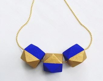 Geometric Wood Bead Necklace - Royal Blue and Gold