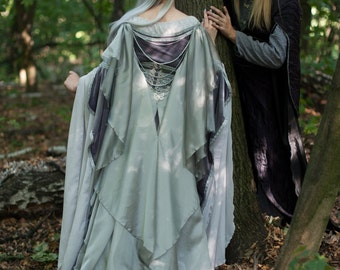 Silver gray elven  dress.  Made to order