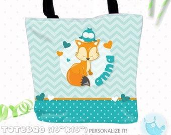 SALE Fox Personalized Tote Bags, custom Tote bag, kids tote, school tote, kindergarten tote, beach tote bag, fox Tote Bags TB114