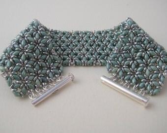Grey green and silver mosaic beadwork cuff bracelet