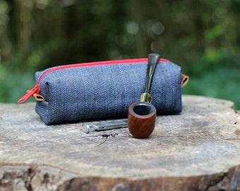 Manly, Rustic Zipper Case - Denim bag with leather accents and Red Zipper, Vinyl lined - Pipe Case, Razor Bag, Small Duffel, Pen Pouch