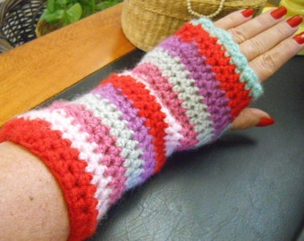 SALE***Hancrafted, Crocheted, Striped Fingerless gloves