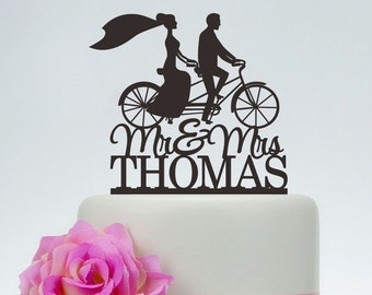 Mr And Mrs Cake Topper With Last Name,Bride And Groom On Bike Silhouette,Custom Cake Topper,Bicycle Cake Topper,Unique Cake Topper C099