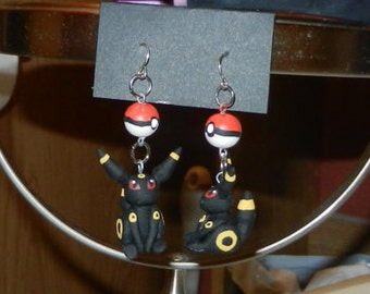 Cute Kawaii Umbreon Eeveelution Pokemon Polymer Clay Dangle Drop Earrings