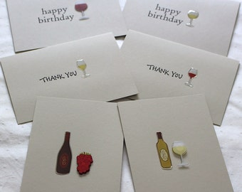 Set of 6 Handmade Wine Style Card Set