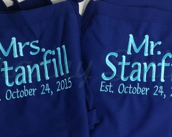 """Matching set of Embroidered Couple's Gift Aprons. Many colors + fonts. 24""""L x 28""""W professional 3 pocket full bib. His can be longer!!!"""