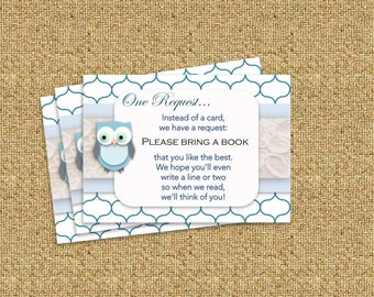 Blue Owl Boy Baby Shower Book Request - Instant Download