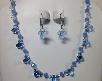 Blue glass necklace and earring set -GLN011