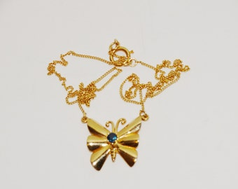 14k Yellow Gold Stamped lovely Blue Sapphire Butterfly Necklace.