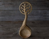Hand Carved Oak Wood 'Yggdrasil' (Tree of Life) Serving Spoon