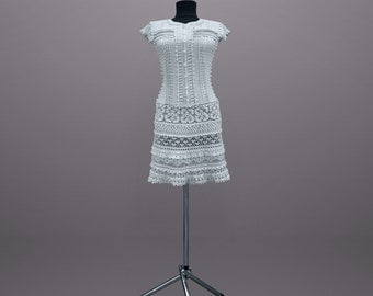 Lexie. Pearly gray cotton all occasion crochet dress. Made to order.