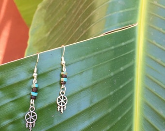 turquoise and wood dreamcatcher earrings