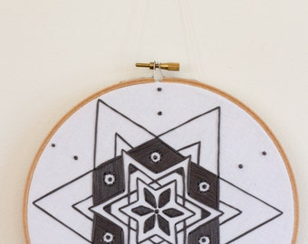 Gray Star Hand Embroidery - 7 inch hoop