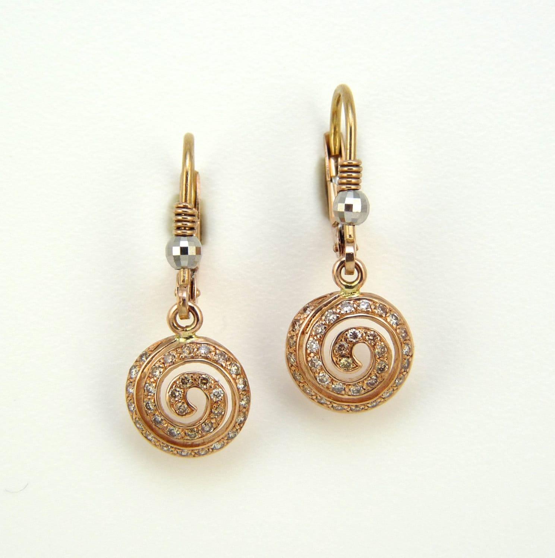 diamond earrings champagne diamonds rose gold rose gold. Black Bedroom Furniture Sets. Home Design Ideas