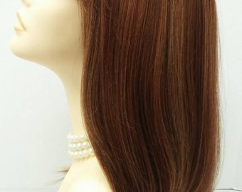 Long 17 inch Straight Auburn Red with Slight Butterscotch Highlights Wig. Heat Resistant Wig with Bangs. [36-200-PopSugar-RS31/27S]