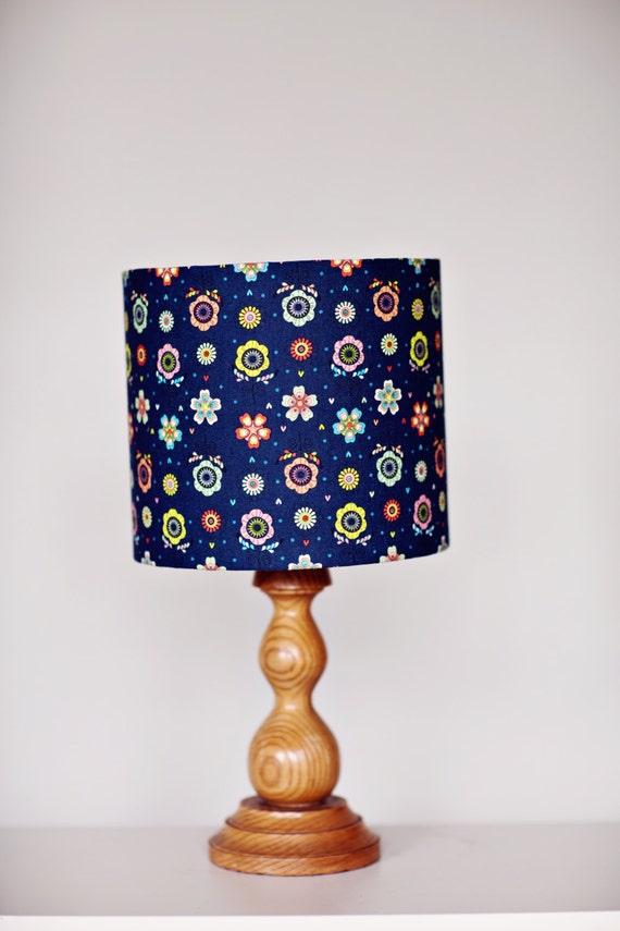 Navy Blue Lamp Shades : Navy blue lamp shade floral lampshade decor