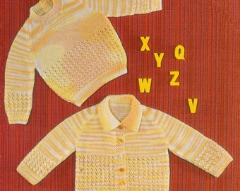 Baby Knitting Pattern - Sweater and Cardigan - 18 to 21 inches - uses 4 ply yarn