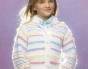 Child's Striped Cardigan Knitting Pattern - 26 to  32 inches - uses DK yarn