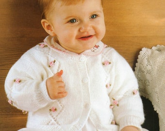 Baby Rosebud Cardigan Knitting Pattern - to fit birth to 6 years - uses 4 ply