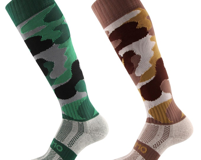 Samson® Camouflage Camo Funky Socks Cotton Sport Knee High Sport Football Rugby Hockey Soccer