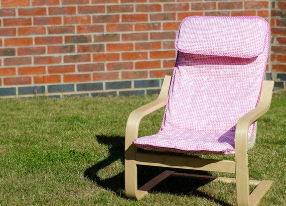 Items similar to children 39 s ikea poang chair cover pink bow on etsy - Chairs similar to poang ...