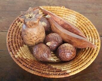 Set of Vintage Wooden Fruit with Gold Tips